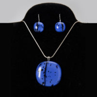 Medium Blue Pendant & Earrings