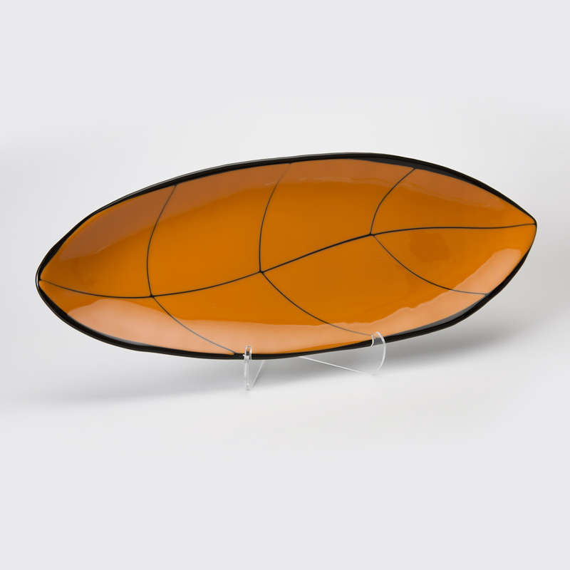 Pumpkin on Black Glass Leaf Platter